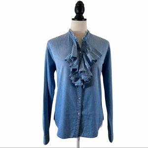 NSF Exclusive Ruffle Shirt Denim Chambray, Size M